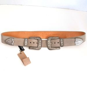 NWT Brave Leather Frankie Double Buckle Suede Belt